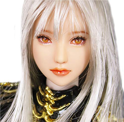 HiPlay 1/6 Scale Female Figure Head Sculpt, 100% Handmade & Customized Makeup, Anime Style, Beauty Charming Girl Doll Head for 12' Action Figure TBLeague/Obitsu/JIAOU CDH65 (White Skin)