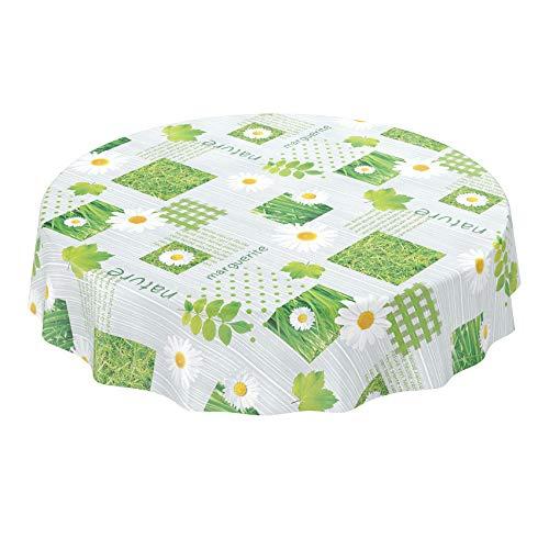 Anro - Mantel de hule lavable, 95% PVC, 5% poliéster., Diseño de cuadros, color verde., Rund 120cm Schnittkante