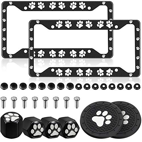 2 Pieces Cat Theme License Plate Covers Cat Paw License Frames Aluminum Alloy License Plate Covers with 4 Pieces Cat Valve Stem Caps and 2 Pieces Cat Paw Coasters for Most Cars Vehicles