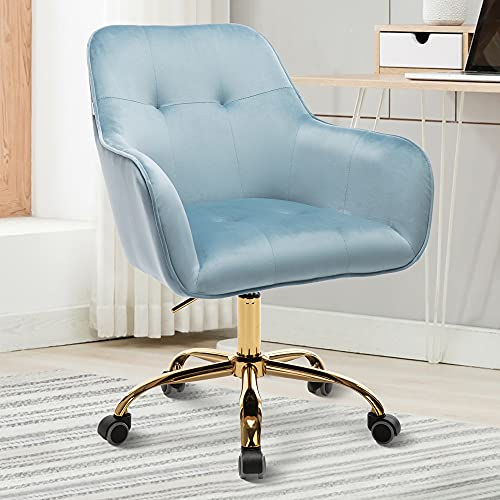 HOMEFUN Cute Desk Chair for Bedroom, Velvet Home Office Chair with Gold Legs Modern Vanity Chair with Wheels for Girls, Light Blue