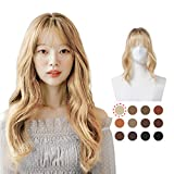 Image of PINKAGE Hair Topper with Air Bangs in Natural 12 Colors, Crown Hair Piece Clip for Women Hair Loss and Thin Hair (Natural Blond)
