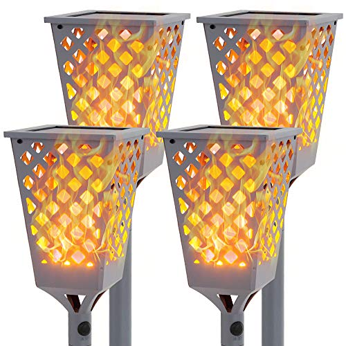Walensee Solar Torch Lights with Flickering Flame, Upgraded Solar Flame Flickering, 96 LED Waterproof Flickering Flames Lamp Dancing Fire for Walkway, Landscape, Dusk to Dawn. Grey Color