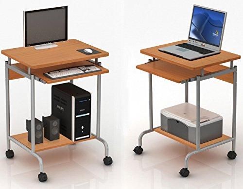 Techly 305694 Scrivania Mobile Compact per Computer Ripiano Tastiera Scorrevole Faggio