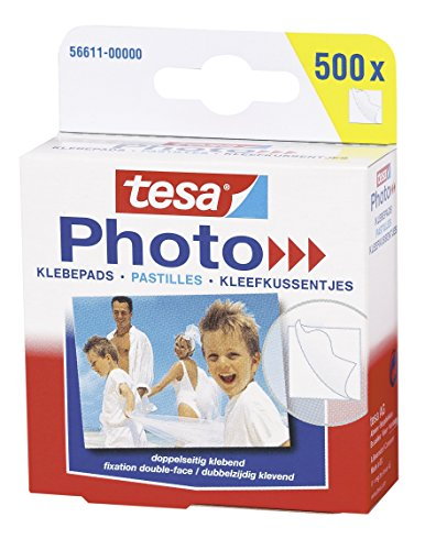 tesa 56611 Photo Klebepads, beidseitig klebend zur Erstellung eines Fotobuches, Big Pack mit 500 Stück