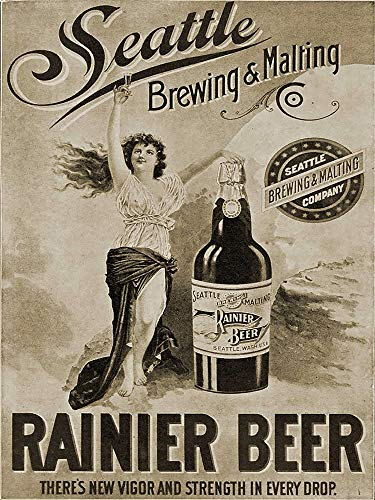 Vintage Rainier Beer Vintage ad Reproduction Steel Sign bar Decor
