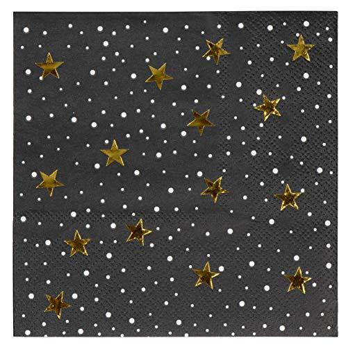 Blue Panda Servilletas de cóctel – Paquete de 50 servilletas de papel desechables para fiesta, noche estrellada con diseño de estrellas de lámina dorada, plegadas de 12,7 x 12,7 cm