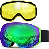 ZIONOR X3 Ski Snowboard Snow Goggles with Magnet Lens Anti-Fog UV Protection Spherial Design for Men Women Adult