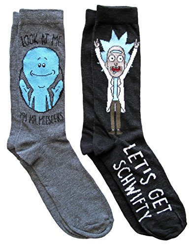 Rick and Morty Mr. Meeseek's Schwifty Men's Crew Socks 2 Pair Pack Shoe Size 6-12