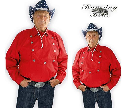 Running Bear Rotes Country Westernhemd John Wayne Größe L - Cowboyhemd Wild West Line Dance Kleidung