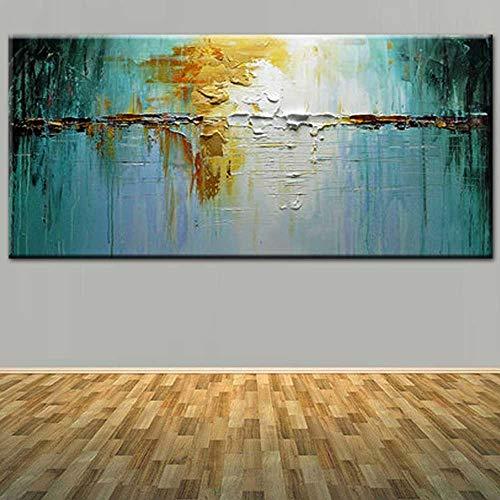 MAOYYM1 Grote Hand Geschilderde Moderne Abstract Dikke Blauw Geel Olie Schilderen Op Doek Woonkamer Muurschildering Huisdecoratie Geen Inlijsten (alleen canvas) 32X52Inch