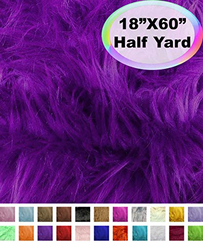 Barcelonetta | Half Yard Faux Fur | 18' X 60' Inch | Craft Supply, Costume, Decoration (Purple)