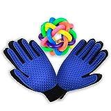 NB Guante para mascotas, un par de guantes para eliminar el pelo de las mascotas, para el cuidado de mascotas, bola de nudos de goma natural, para pequeños juguetes para perros