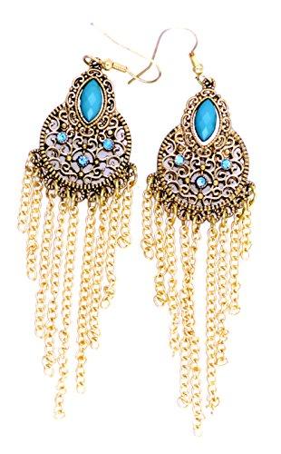 Lizzyoftheflowers - Retro antieke stijl goud en turquoise gekleurde lange kwastjes kroonluchter oorbellen