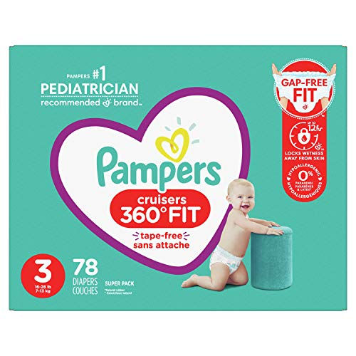 Diapers Size 3, 78 Count - Pampers Pull On Cruisers 360° Fit Disposable Baby Diapers with Stretchy Waistband, Super Pack (Packaging May Vary)