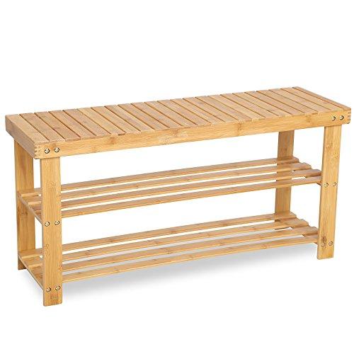 SONGMICS Bambus Schuhregal, Schuhschrank mit Sitzbank, Schuhbank mit 3 Ablagen 90 x 28 x 45 cm ideal für Wohnzimmer, Flur, Bad, Diele, LBS90N