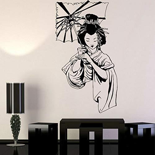 Geisha Japanese Girl Umbrella Asian Style Aufkleber Vinyl Home Decor Wandtattoo Abnehmbare Innenwand Frau Mit Regenschirm 57 * 104Cm
