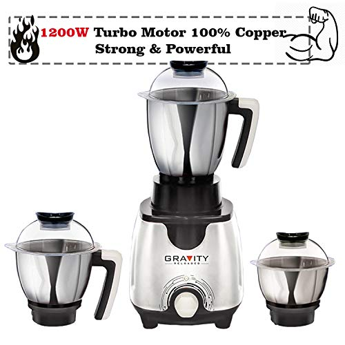 Padmini 1200w Heavy Duty Turbo Mixer Grinder with 3 Heavy Stainless Steel Jar & 100% Copper Motor (Grey)