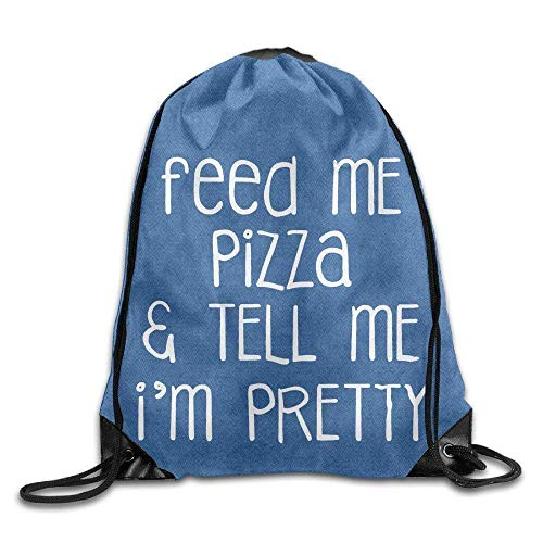 Lsjuee Feed Me Pizza and Tell Me I'm Pretty Cool Drawstring Backpack String Bag