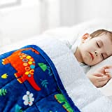 Sivio Kids Sherpa Fleece Weighted Blanket, 3lbs Blue Dinosaur, Ultra Soft and Cozy Heavy Blanket, Great for Calming and Sleep, Fall and Winter Sherpa Flannel Weighted Blanket for Child, 36x48 Inch