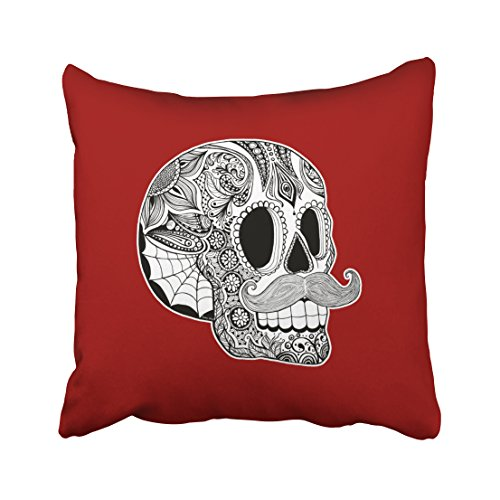 Accrocn Halloween Customizable Mustache Sugar Skull Throw Pillow Covers Cushion Cover Case 20x20 Inches Pillowcases One Sided