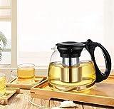 NOSSON Tetera pequeña, 1100 ml y 1300 ml de vidrio resistente al calor tetera puer frasco de acero inoxidable capa interior de oficina set de té de oficina herramienta para el cuidado de bebidas