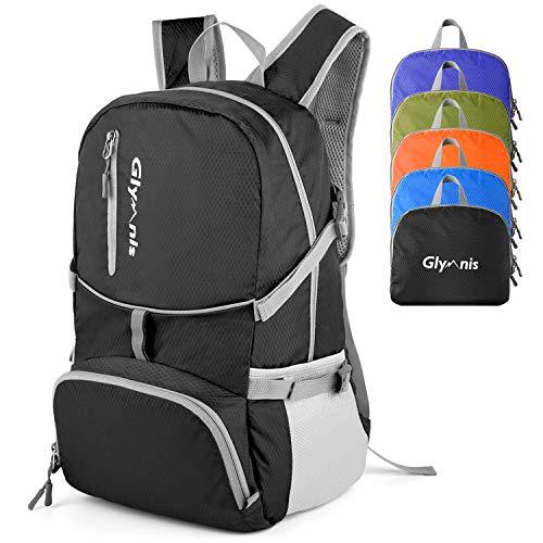 Glymnis Faltbarer Rucksack 30L Klein Tagesrucksack Ultraleicht Packable Rucksack Faltbarer Reiserucksack für Outdoor Wandern Reisen Damen und Herren (Schwarz)