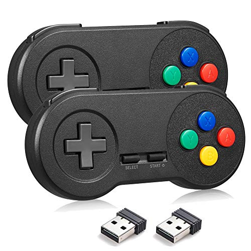 miadore Wireless USB Controller für SNES Emulator, 2.4G Gamepad USB Joystick SNES Game Controller für Windows PC/MAC/Raspberry PI (2X Schwarz)