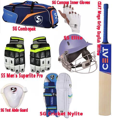 SG Cricket Kit Mens Size English Willow Bat with PAD, Gloves, Helmet,KIT Bag, Gloves, Abdo PAD,