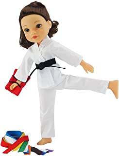 Emily Rose 14 Inch Doll Clothes/Clothing | 12 Piece Karate Athletic Outfit with All 9 Color Belts! | Fits American Girl Wellie Wishers Dolls | Gift Boxed!