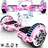 Magic Vida Skateboard Elettrico 6.5 Pollici Bluetooth con Due Barre LED Monopattini elettrici autobilanciati di buona qualità per Bambini e Adulti(Camouflage Rosa)