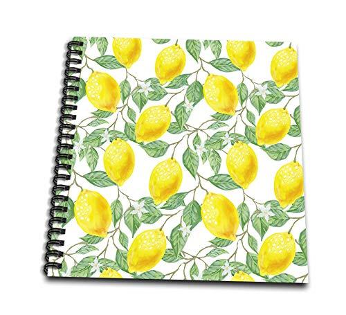 3dRose db_319769_2 Bild von gelben Zitronen, grünen Blättern auf weißem Hintergrund, Erinnerungsbuch, 30,5 cm, mehrfarbig
