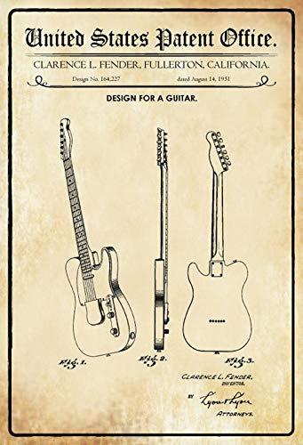 FS Patent ontwerp voor een gitaar Fender metalen bord bordje gewelfd Metal Sign 20 x 30 cm