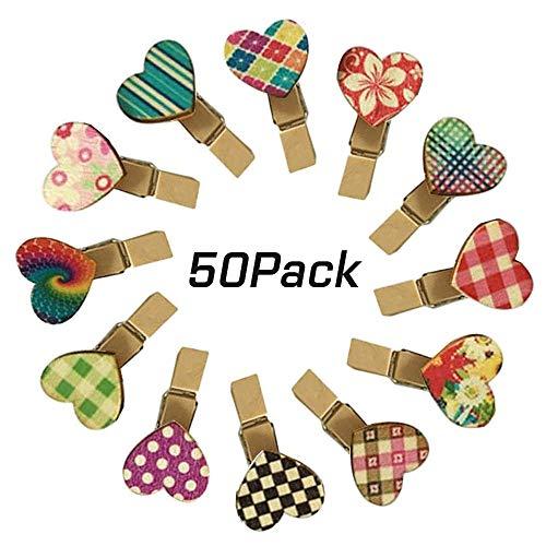 Cyleibe 50 pinzas para la ropa, de colores, con forma de corazón, de madera, mini pinzas decorativas para manualidades, fotos, bodas, regalos, manualidades