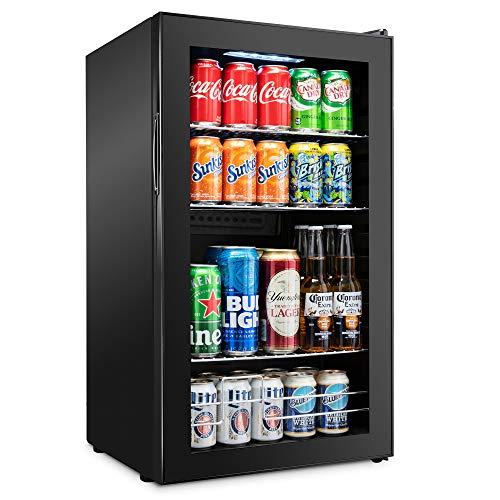 Ivation 126 Can Beverage Refrigerator   Freestanding Ultra Cool Mini Drink Fridge   Beer, Cocktails, Soda, Juice Cooler for Home & Office   Reversible Glass Door & Adjustable Shelving - Black