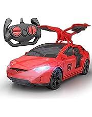 4-kanaals Tesla afstandsbediening auto cadeaus voor kinderen dynamische oplaadbare 2.4G RC voertuig model radio open deur auto Nieuwjaar prachtige afstandsbediening auto model (kleur: rood) Per