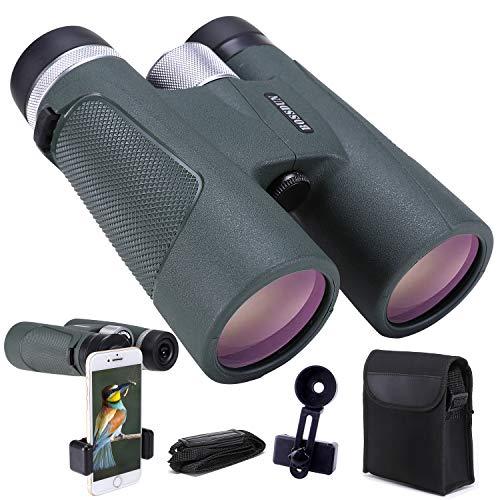 12X42 Fernglas, Hochleistungs-HD-Fernglas für Erwachsene mit Fotoadapter, wasserdichtes Fernglas mit langlebigem und klarem FMC BAK4 Prisma-Fernglas für Vogelbeobachtung, Camping, Wandern