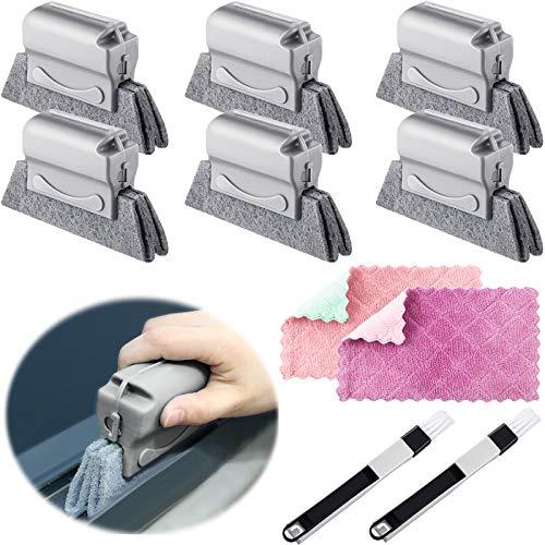6 Cepillos de Limpieza de Ranura de Ventana Herramientas de Cepillo Limpiador de Mano Cepillo Mágico para Esquina con Trapo Recogedor para Limpieza de Puerta Cocina (Gris)