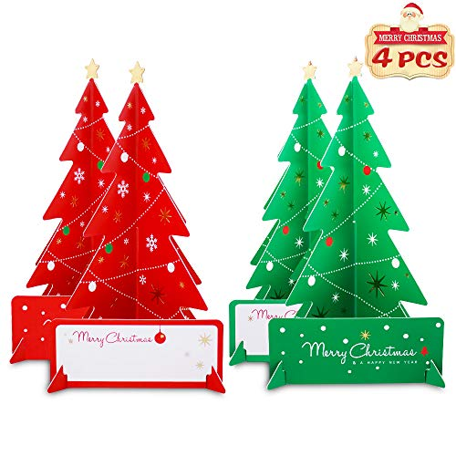 Christmas Greeting Cards 3D Xmas Tree with Envelope Cardboard Folding Christmas Tree Table Top Christmas Tree Desk Miniature Christmas Tree for Party and Happy New Year Gifts 4-Counts (Red and Green)