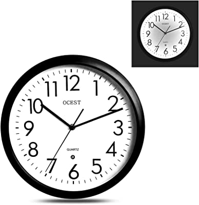 OCEST Night Light Wall Clock, 12 Inch Non-Ticking Luminous Wall Clock with LED Light, Large Display Battery Operated Decorative Wall Clock for Bedroom Living Room Kitchen Garage