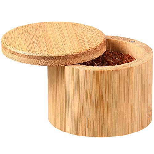 Salt Box Salt Keeper Bamboo Salt and Pepper Box Container  Salt Cellar with Swivel Lid and Magnet for Kitchen to Keep Food Dry (1 Storage Compartment 3.54 x 2.76 Inch)
