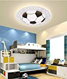 LITFAD Soccer-Patterned Dimmable LED Ceiling Light 20.5' Creative Ceiling Fixture in Black for Boys Bedroom,Kids Room,Children Bedroom