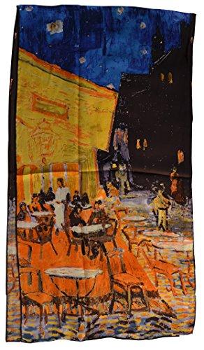 YSSP, Van Gogh's Cafe Terrace at Night, Elegant Luxury Fashion 100% Silk Scarf Classic Premium Vintage Shawl Wrap Art, Oblong