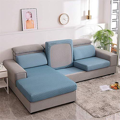 H-CAR Fundas de cojín para sofá, fundas de cojín para cojines individuales, fundas de cojín de sofá jacquard elástico (1 plaza, azul)