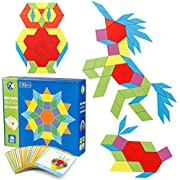 Coogam 130 Pcs Wooden Pattern Blocks Set Geometric Manipulative Shape Puzzle – Graphical Early Educational Montessori Tangram Toys Brain Teasers STEM Gift for Kids with 24 Pcs Design Cards