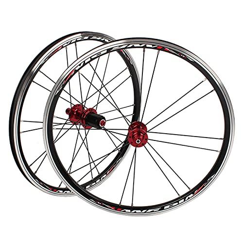 MGRH Juego De Ruedas De Bicicleta Plegable BMX 406451 Llantas Rueda De Bicicleta De 20 Pulgadas C/V- Cojinetes De Freno Sellados Cubos De Liberación Rápida para 7-10 Ve Red Hub-451