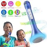 Micrófono Inalámbrico Portátil Bluetooth Altavoz Incorporado para Karaoke Batería de Compatible con PC & iPad & iPhone & Smartphone Android, Reproductor De Música Máquina Mic Altavoces Incorporados