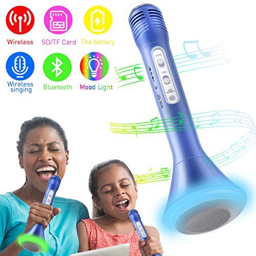 Bluetooth Karaoke Mikrofon, Portable Drahtlose Handmikrofon Lautsprecher Player Kabellos Mikrofon, Stereo Player für Musik spielen, Mikrofon Kinder (Blau)