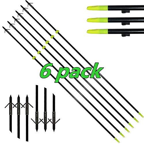 DZGN Tiro con Arco de Fibra de Vidrio de Pesca Flechas 34 '' de 8 mm Longitud del Arco Pesca Caza Flechas clásicas Flechas de Pescado con Puntos, para Pesca Caza (6 Pack)