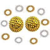Winterworm 1 Pair Gold Metal Magnetic Hand Palm Acupuncture Ball Needle Massage Handball and 10 Gold Silver Finger Massage Rings Good for Health Blood Circulation Relief Pressure