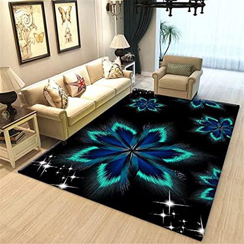 LBMTFFFFFF Alfombra alfombra para el hogar, salón, sofá, estilo retro, dormitorio, cama de noche, diseño floral, atmósfera sencilla, suave y cómoda, 140 x 200 cm